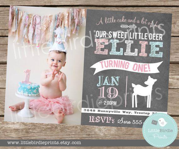 DEER FIRST BIRTHDAY Chalkboard Invitation by littlebirdieprints