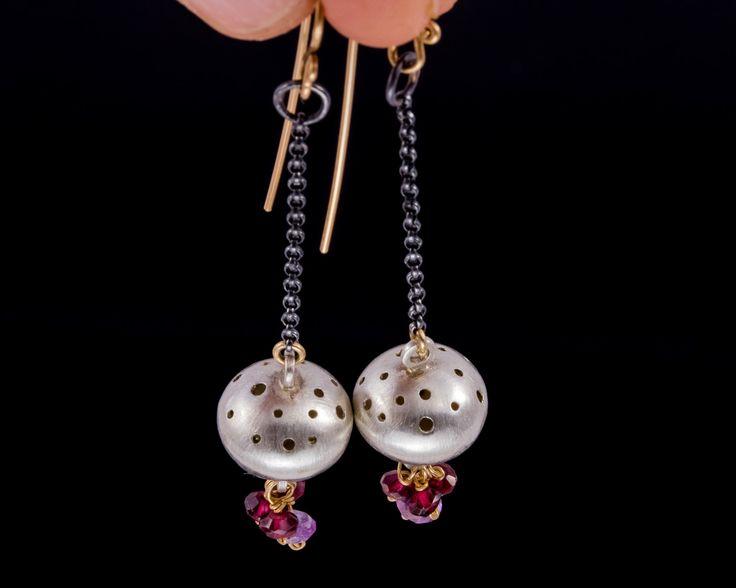 Mixed metal gemstone earrings - Sterling silver, Gold-filled silver by JackAssayagJewelry on Etsy
