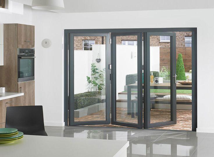 Supreme 2.7m Grey Aluminium Bi-fold Doors Double Glazed » Vufold