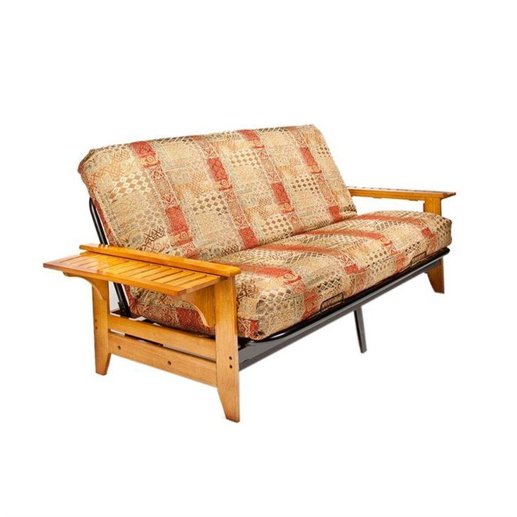 Night And Day Coral Full Wood Metal Futon Double Futons In Honey Oak