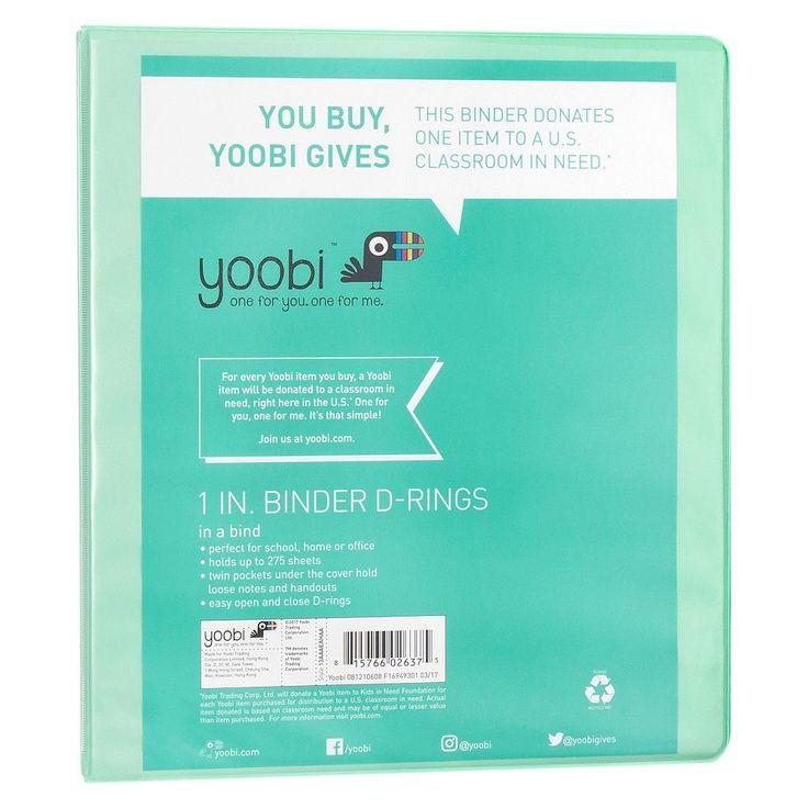 Yoobi 1 3 Ring Binder Mint Green
