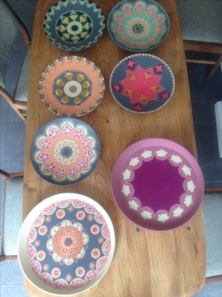 Hand painted plates and canvases