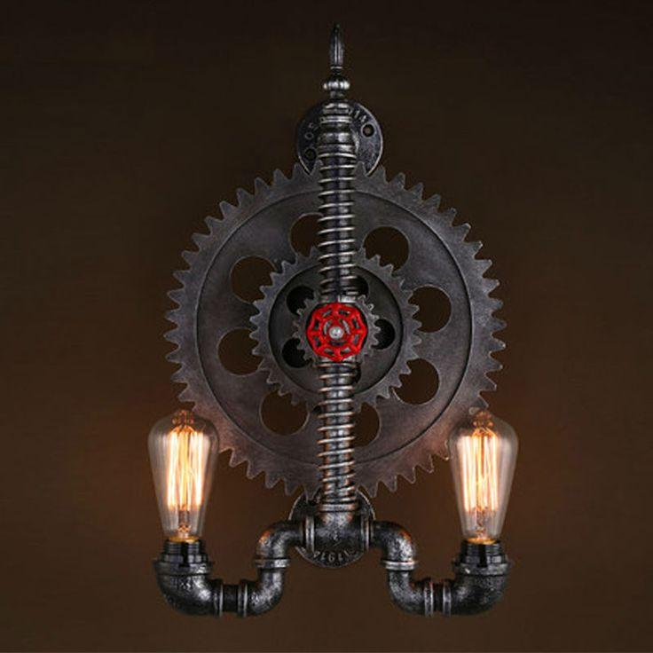 Передач дизайн ретро чердак промышленный светильники с 2 эдисон луковицы водопровод лампа старинные настенные бра Aplik Arandela купить на AliExpress