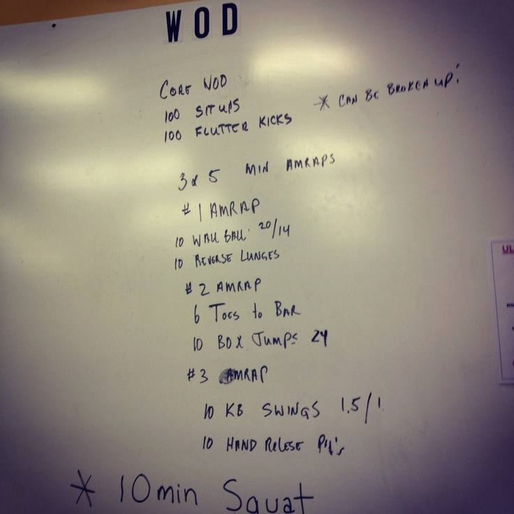 WOD 07.10.12    Out of town WOD @ #Crossfit #Sacrifice in Columbus, GA     FIRST   400  Meter sprint   100  Situps   100  Flutter Kicks     THEN     3x5 Minute AMRAP    #1 AMRAP  10 Wall Balls   10 Reverse Lunges    #2 AMRAP  6 T2B  10 Box Jumps @ 24    #3 AMRAP  10 Kettlebell Swings 55/35  10 Hand Release Pushups     Rounds for time: 4+4 wall balls, 4, 3.5