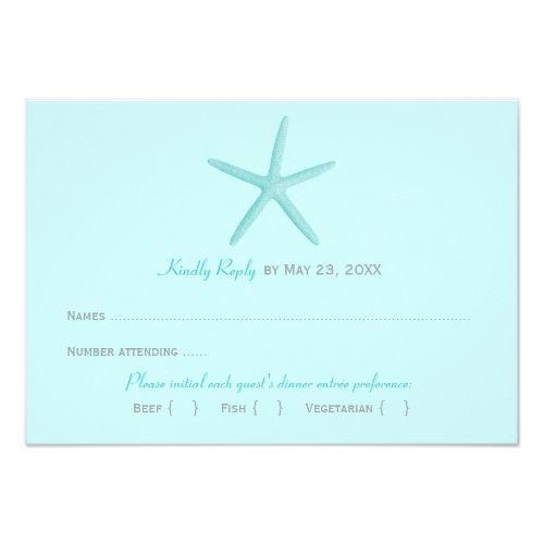 Destination Wedding RSVP Wedding Reply Card 2 | Blue Starfish