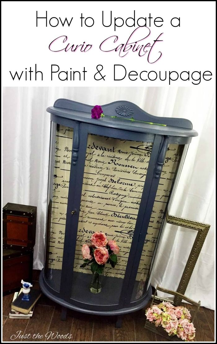 Curio Cabinet Makeover  Save grandma's old furniture and give it update, let your family heirloom work with your decor. Painted furniture and decoupage can transform your curio cabinet.