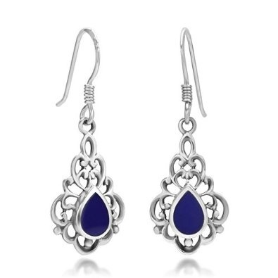925 Oxidized Sterling Silver Deep Blue Lapis Lazuli Gemstone Inlay Bali Inspired Filigree Dangle Hook Earrings Fashion Jewelry for Women - Nickel Free: Jewelry: Amazon.com