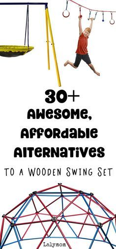 30+ Awesome Affordable Alternatives to a Big Wooden Swing Set - Metal Swing Sets, Tree Swings and Stand Alone Backyard Equipment. OMG That Ninja line looks awesome!