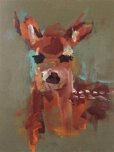 """Daily Paintworks - """"Youre A Dear"""" - Original Fine Art for Sale - © Marcia Hodges"""