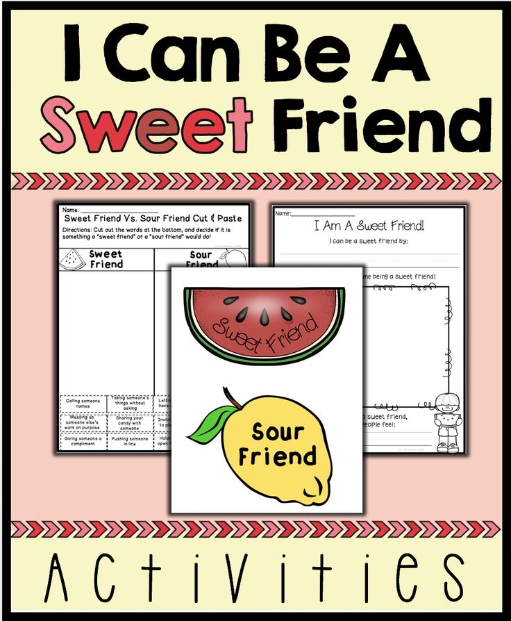 "This resource includes 2 activities, 1 worksheet and 4 posters to help kids learn how to be a good friend. In the two activities, students will differentiate between a ""sweet"" friend and a ""sour"" friend. The fun watermelon theme will be sure to engage young learners, and the posters will give students a visual reminder of what it means to be a good friend!"