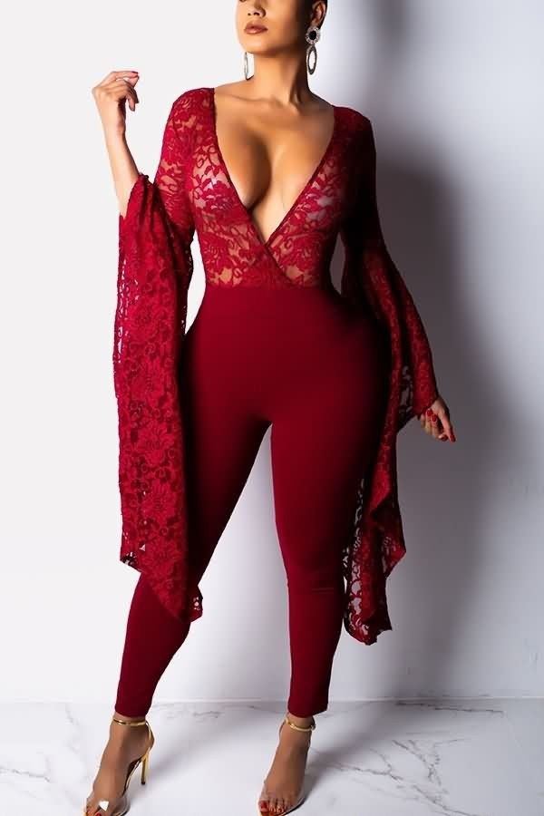 Dark-red Lace Mesh Plunging Flare Sleeve Sexy Jumpsuit  053969   Sexy  Rompers And Jumpsuits For Women-Strapless Jumpsuit 2cf8847b0