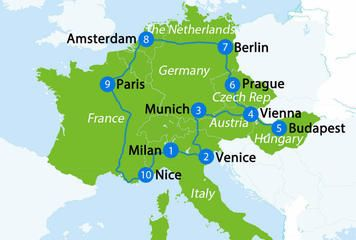 Europe map with 3 week itinerary
