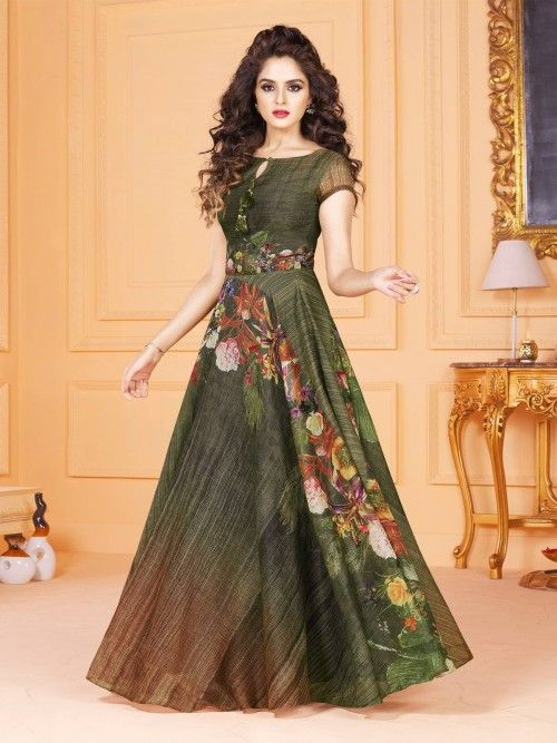 9a5643f91bb Stunning Readymade Multicolour Tussar Silk Designer Gown Suit ...