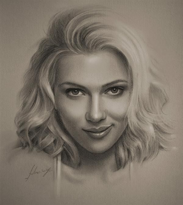 Drawing Famou Pencil Sketches of People   25 Creative and Amazing Pencil Drawings of Celebrities Scarlett ...