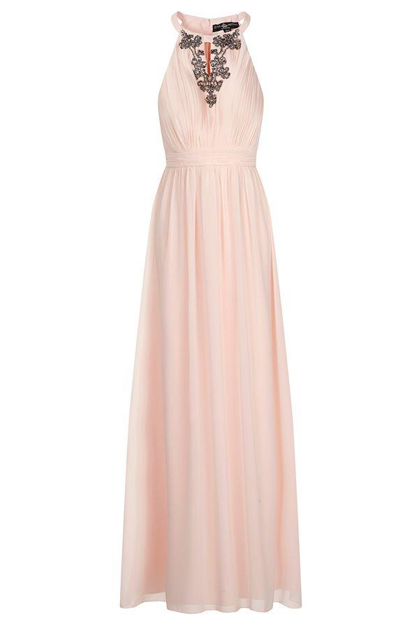 Little Mistress Chiffon Embellished Halter Maxi Dress