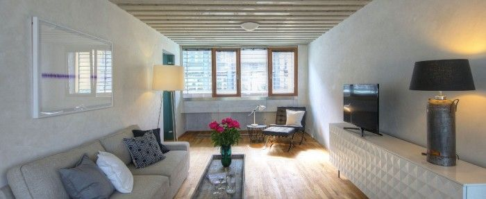 #accommodation in #prague, this two-bedroom holiday #apartment with free Wi-Fi is housed in an award-winning building that is complete with 24-hour reception and security. The apartment has two bedrooms, one full bathroom, a WC, a fully fitted kitchen and a large living room with a sofa bed. Lovely interior!