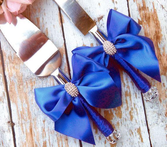 Your Color  Wedding Cake Serving Set  Royal Blue Wedding