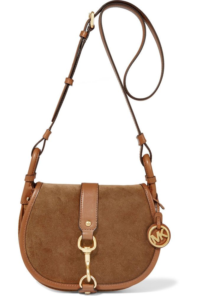 e91597baca98 Details about Michael Kors JAMIE Large Crossbody Saddle Bag Suede DARK  CARAMEL  328 - NWT