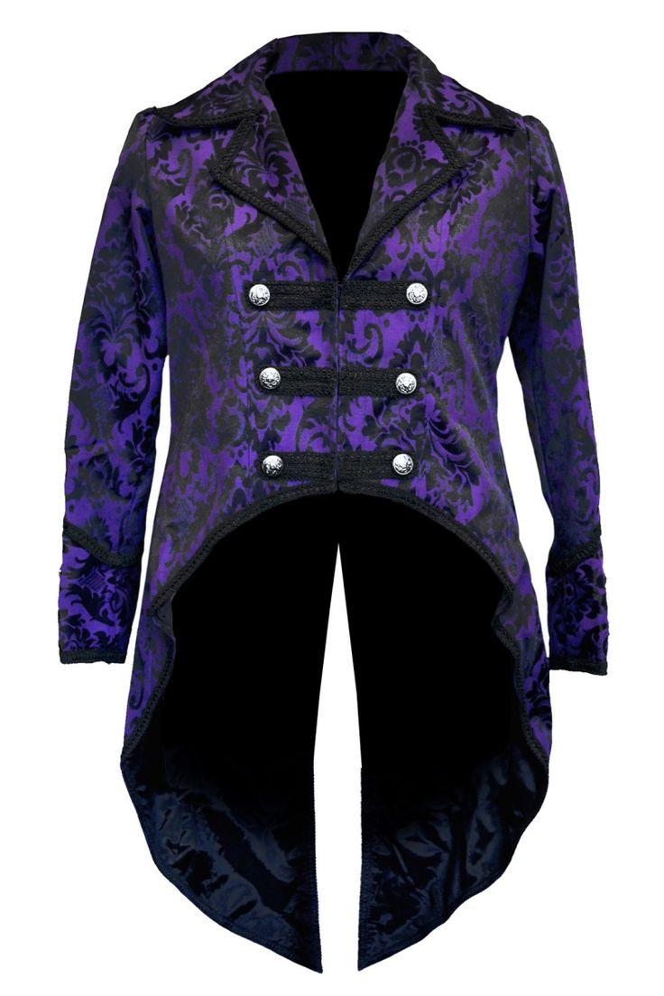 Dark Star Gothic Tailcoat, Steampunk Pirate Brocade Coat - Purple/Black