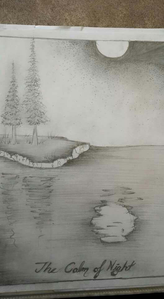 Pine trees - poetry book grade nine drawing