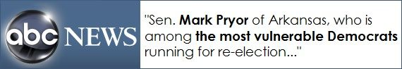 There is one Democrat U.S. Senator considered more vulnerable than any other Senate in the upcoming Midterm Elections:  Mark Pryor of Arkansas.  So if we are to have a good chance of ending the Democrat majority in the Senate, and ousting Harry Reid as Senate Majority Leader, we simply must defeat Mark Pryor.  Mark Pryor voted in support of Barack Obama's leftist agenda 95% of the time  That's why we've launched an Independent Expenditure campaign to Defeat Mark Pryor, and we need your help!