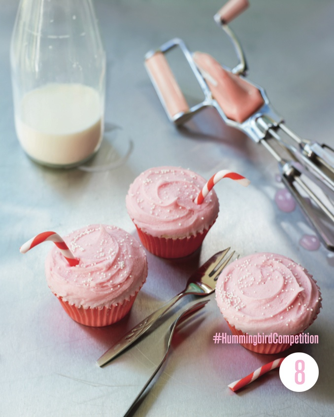 Strawberry Milkshake Cupcakes. Enter our #HummingbirdCompetition by March 6th, 2013 for a chance to win 1 of 3 free Home Sweet Home cookbooks. Rules and how to enter can be found here: https://www.facebook.com/notes/the-hummingbird-bakery/win-a-copy-of-home-sweet-home/567680519908799
