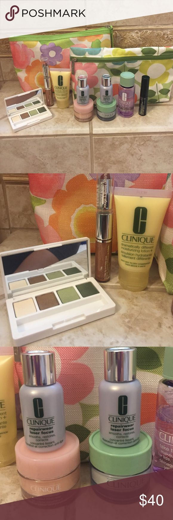 Clinique make up and bags 2 Clinique make up bags with eye shadow palette never used but missing brush, different lipstick and gloss wear, moisturizing lotion, 2 repair wear laser focus, moisture surge, overnight moisturizer, make up remover, and high impact mascara in black Clinique Makeup