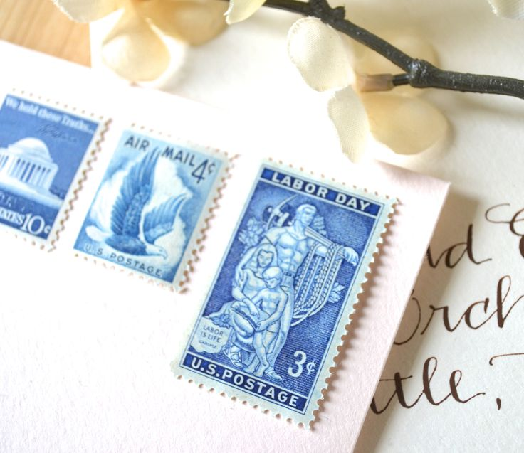 10 UNused Vintage Art Deco Blue Postage Stamps // For Mailing Cards U0026 Wedding  Invitations // Save The Date Stamps