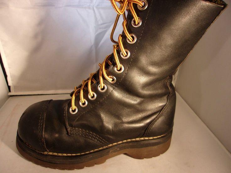 """Dr. Martens Ladies Black 8"""" Steel Toe Cap Toe Lace Up Boots Size 5.5US 3UK 36EU"""