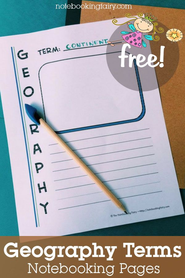 Geography notebooking pages for homeschool Define and