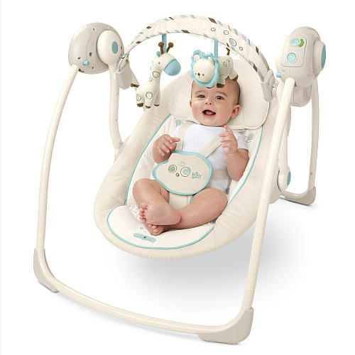"""Portable Swing Shown In Biscotti. Available At Babies""""R""""Us"""