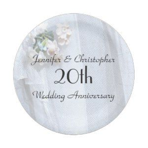 Vintage Lace Paper Plates 20th Wedding Anniversary