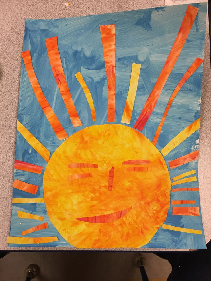 "Eric Carle inspired art (kids cut sun and ""rays"") finger paint yellow let almost dry added orange. Blue & white tempers paint to get light blue - wide sweeps with sponge brushes Preschool art"