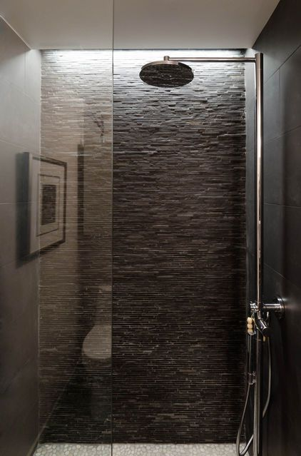 Grey Standing Mosaic tile shower with white pebble tile shower pan. This but in lighter coloring