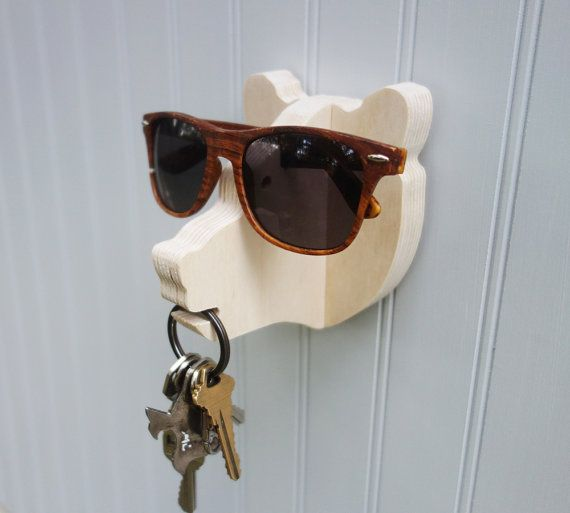 Bear head wall hanger for keys glasses and by thejunglehook