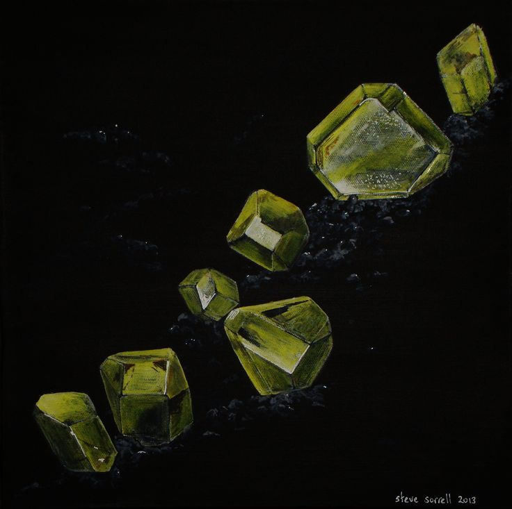 Steve Sorrell Artwork: Wulfenite, Whim Creek, Western Australia. Watercolour on canvas painted with black gesso.
