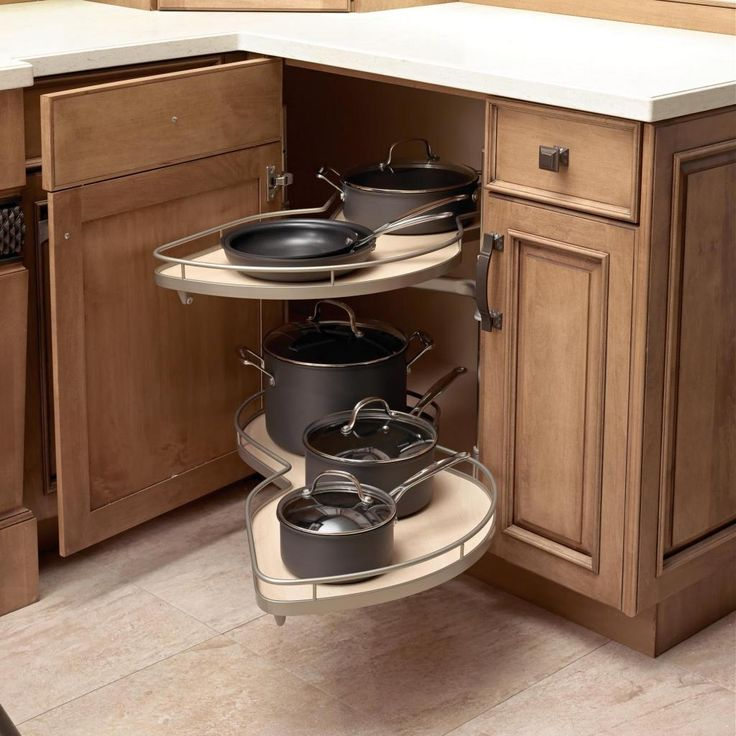 Kitchen Ideas Corners: Contemporary Beautifully Curved Shelves That Give Corner