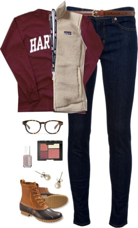 repyourprep: OOTD- school by classically-preppy featuring brown boots ❤ liked on PolyvoreRed long sleeve top / J Brand blue jeans / Patagonia clothing / Brown boots / J.Crew white pearl earrings / Lauren Ralph Lauren skinny belt, $38 / Madewell eyeglass / NARS Cosmetics palette makeup / Essie nail polish / vineyard vines Lanyard