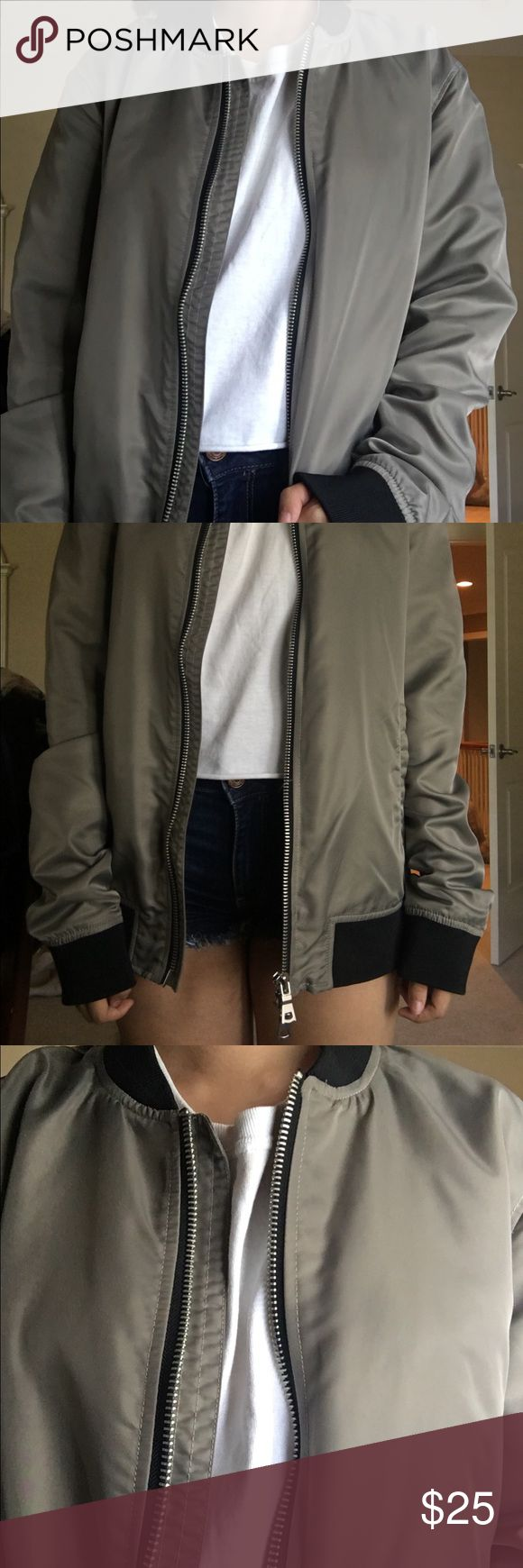 """Grey Bomber Jacket Only worn for the photo, aside from that never worn! In practically perfect condition, bought from the men's section in size medium to get a baggier fit. For reference I am 5'2"""". Not super warm, so wouldn't make you hot when you wear it. I can no longer find it on the f21 website. Forever 21 Jackets & Coats"""