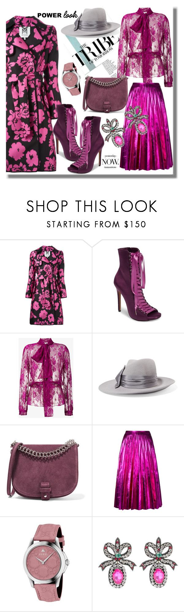 """""""Power Look"""" by pesanjsp ❤ liked on Polyvore featuring Milly, Steve Madden, Balenciaga, Eugenia Kim, Little Liffner, Gucci, girlpower and powerlook"""