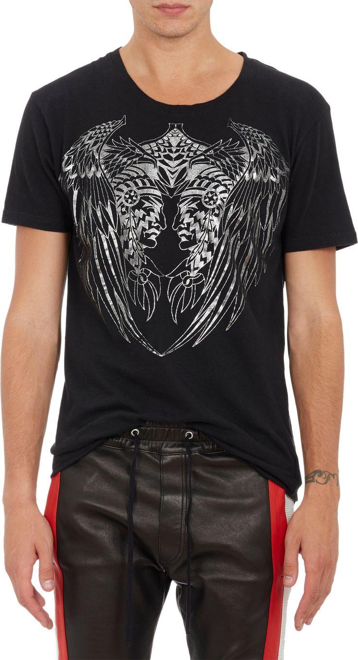 Balmain Mirror Chieftain T Shirt $530 Balmain Black Cotton Jersey T Shirt  Printed