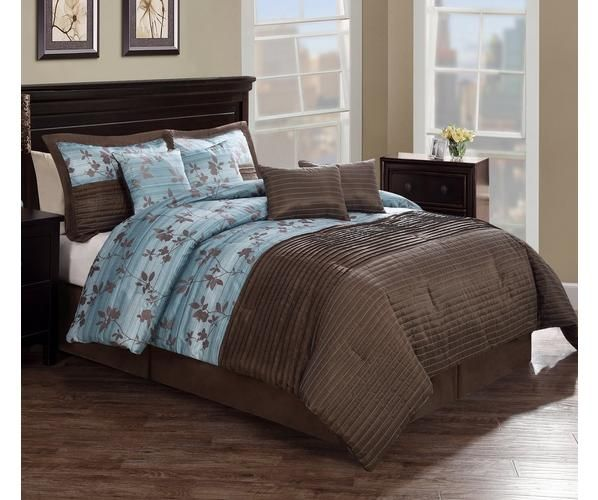 Chocolate Aqua Pleat comforter set is pieced from jacquard woven cloth and features pleated highlights. Bring a soft touch of a floral leafy vine in a jacquard woven fabric on an aqua blue base into your bedroom to give you a sense of peace and quiet.