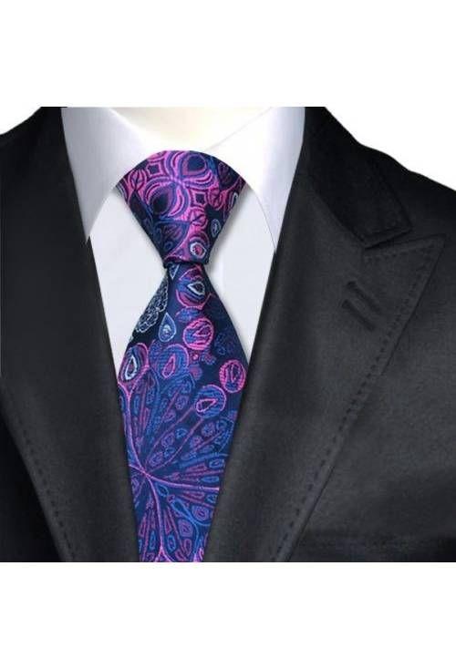 Jason & Vogue Designer Krawatte aus 100% Seide in den Farben schwarz, blau und pink.