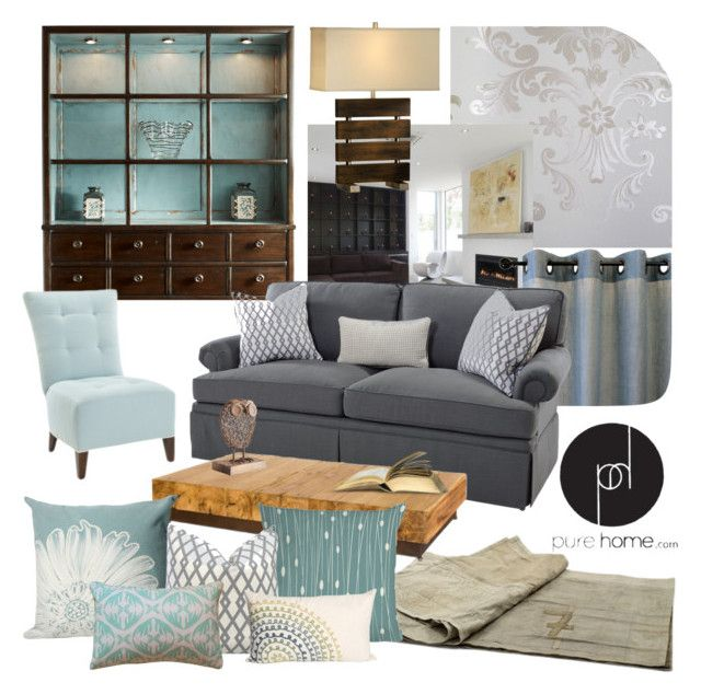 """Chic Blue and Grey Living Room"" by kimmyellipsis ❤ liked on Polyvore featuring interior, interiors, interior design, home, home decor, interior decorating, Fine Furniture Design, Astek, Auskin and GO Home Ltd."