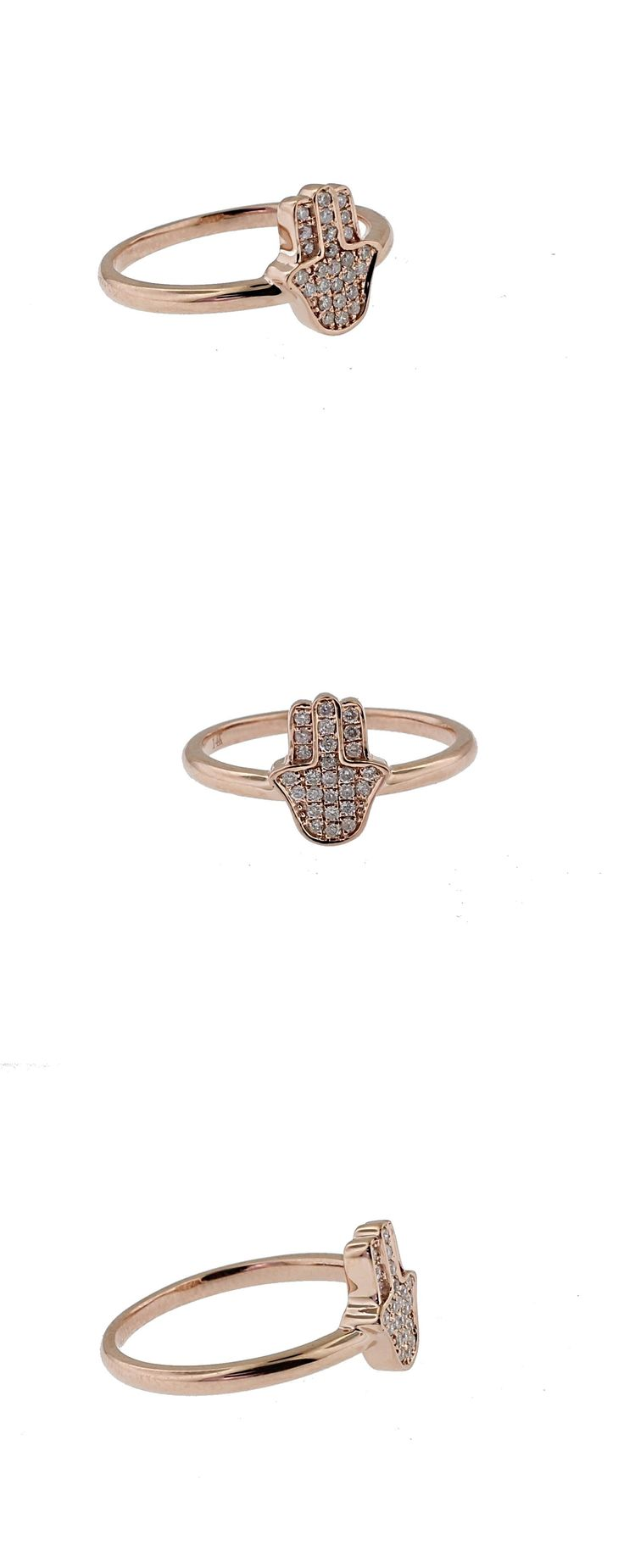 Middle Eastern 166732: Hamsa Lucky Diamond Ring 0.14Ct I+ I1 Pave Setting 14K Rose Gold By Gemmad BUY IT NOW ONLY: $345.0