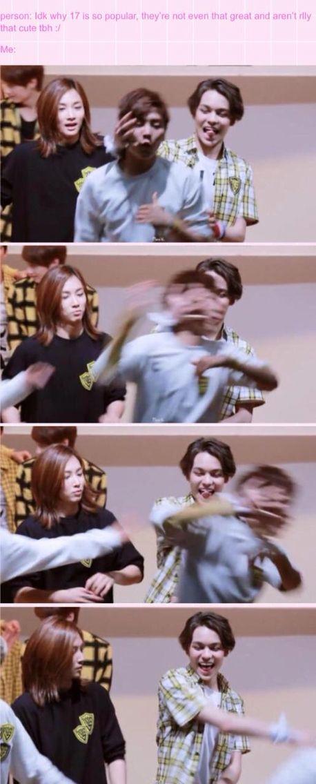 Me: Vernon Hater: Seungkwan My kpop friend: Jeonghan