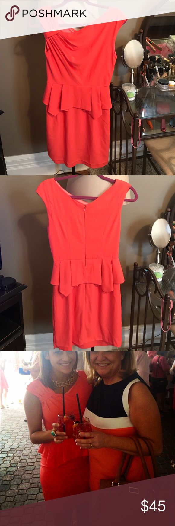 Coral cocktail dress size small Coral cocktail dress size small with peplum waist Minuet Petite Dresses Mini