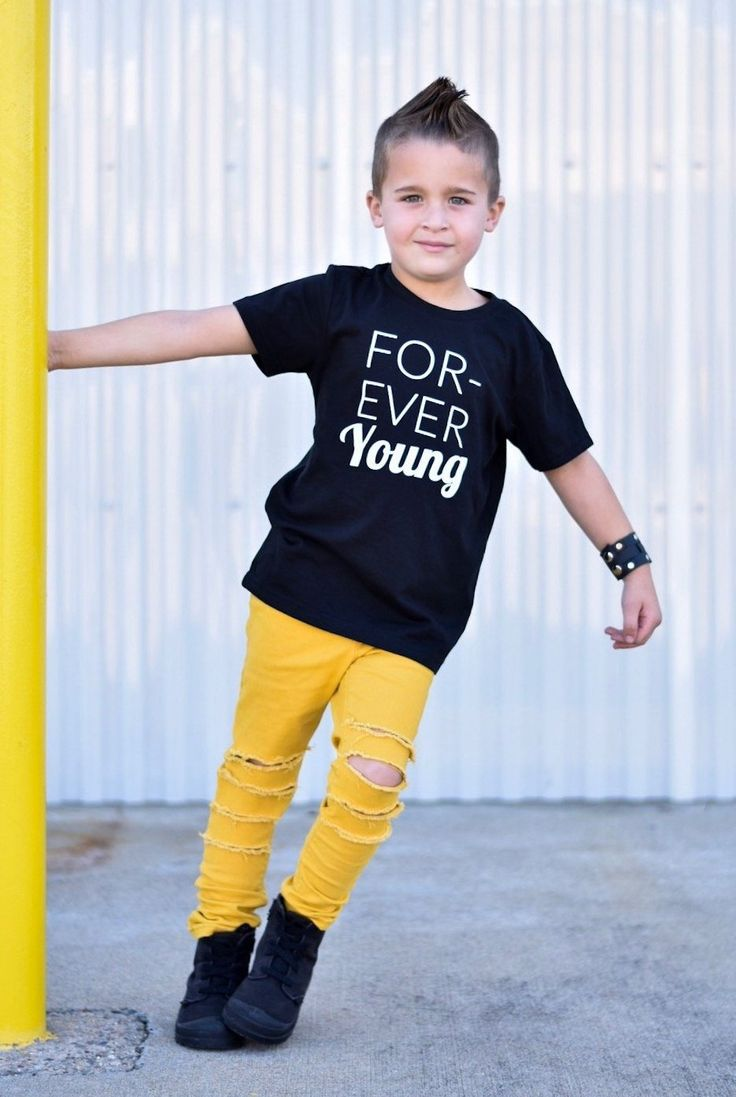 Forever Young - Monochrome trendy kids graphic tees that are gender neutral and fun to style!