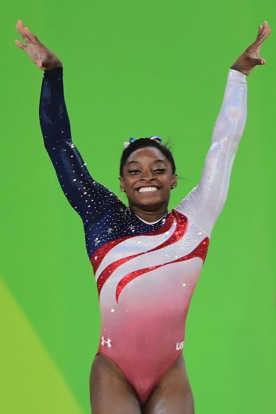 #RIO2016 US gymnast Simone Biles competes in the Floor event during the women's team final Artistic Gymnastics at the Olympic Arena during the Rio 2016...