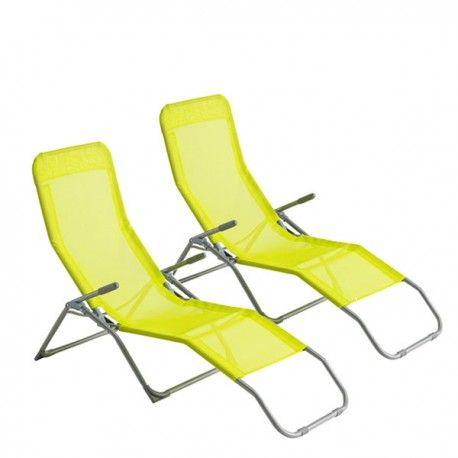 Chaise longue Hespéride SIESTA Violet - Lot de 2